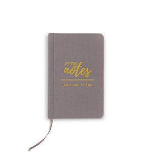 Boekje geloften 'Wedding notes' grijs gepersonaliseerd