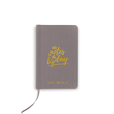Boekje geloften 'Little notes' grijs gepersonaliseerd