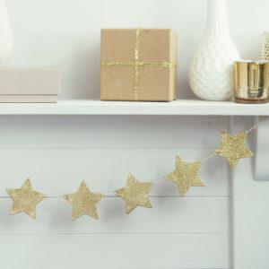 slinger houten glitter sterren goud 7 50 slinger houten glitter
