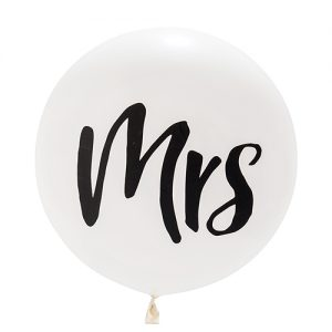 Mega ballon 'Mrs' wit