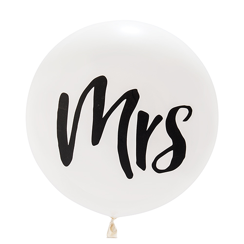 Mega ballon 'Mrs' wit