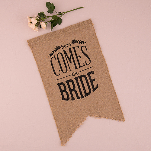 Juten 'Here comes the bride' vlag zwart