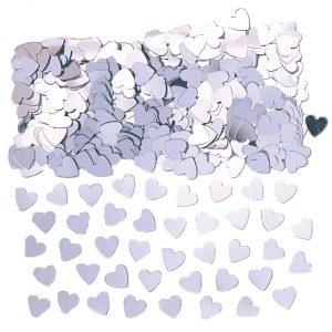Hartjes confetti zilver