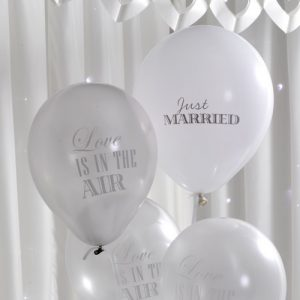 Chique ballonnen 'Silver & White' (8ST)
