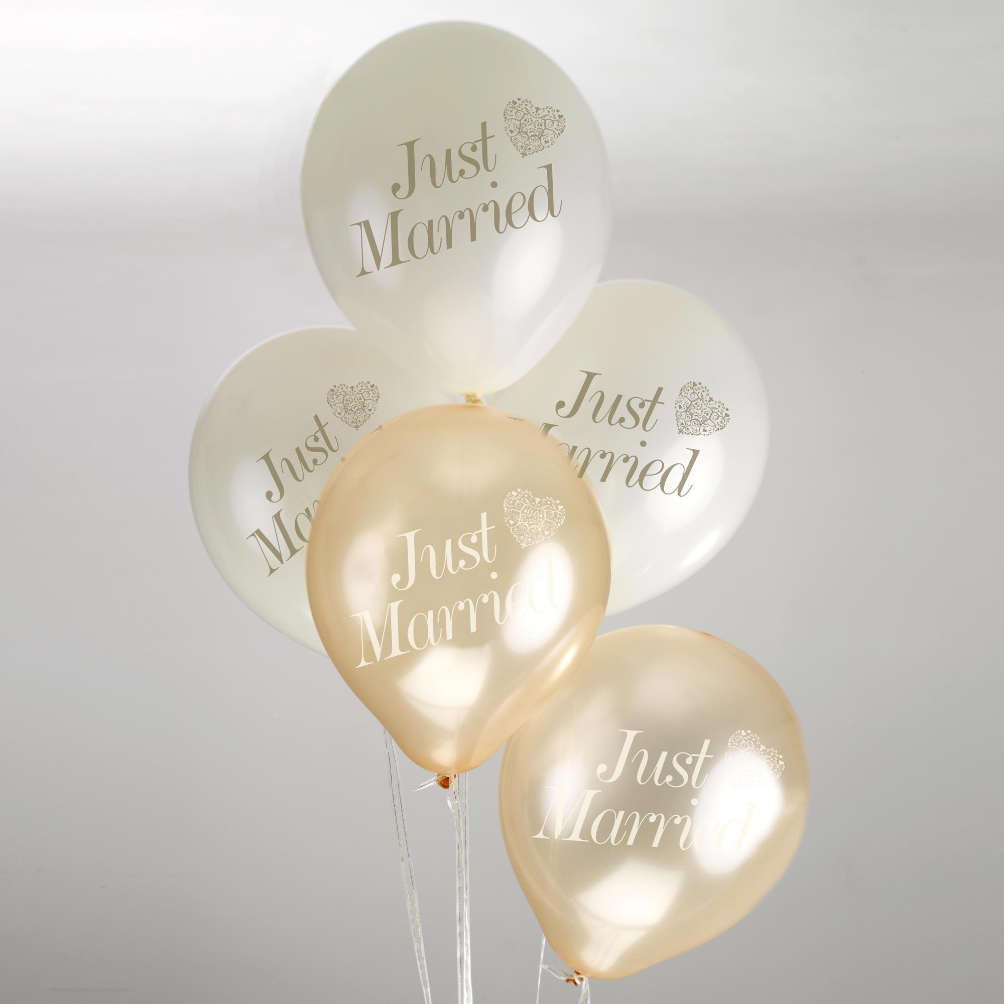 Just Married' ballonnen Ivory/Gold (8ST)