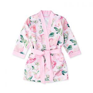 Kimono pink floral meisje gepersonaliseerd