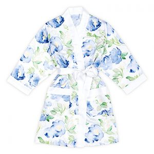 Kimono watercolor floral blue on white gepersonaliseerd