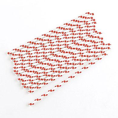 Papieren rietjes 'Red Dot' (75ST)