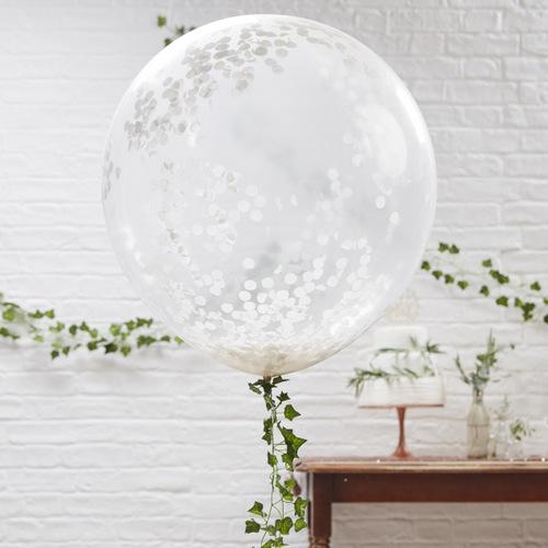 Mega ballon confetti wit (3ST)