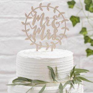 Cake topper 'Mr & Mrs' Beautiful Botanics
