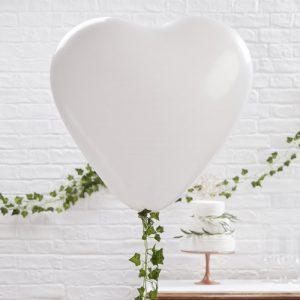 Mega ballon hart wit (3ST)