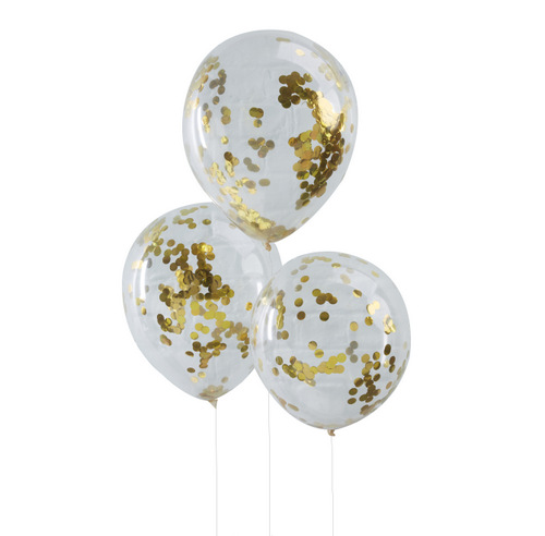 Confetti ballonnen goud (5ST)