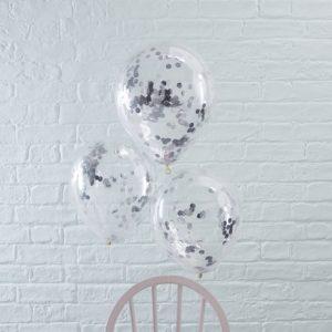 Confetti ballonnen zilver (5ST)