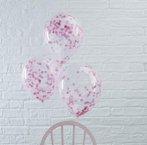 Confetti ballonnen roze (5ST)