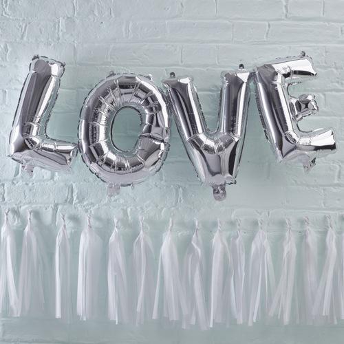 Folieballonnen 'Love' zilver