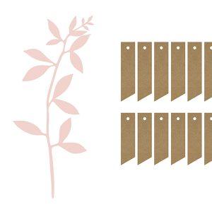 Decoratiepakket 'Leaves & Labels' oud roze