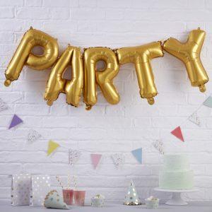 Folieballonnen 'Party' goud