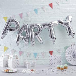 Folieballonnen 'Party' zilver