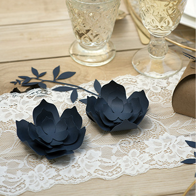 DIY decoratiebloem navy blue large (3ST)