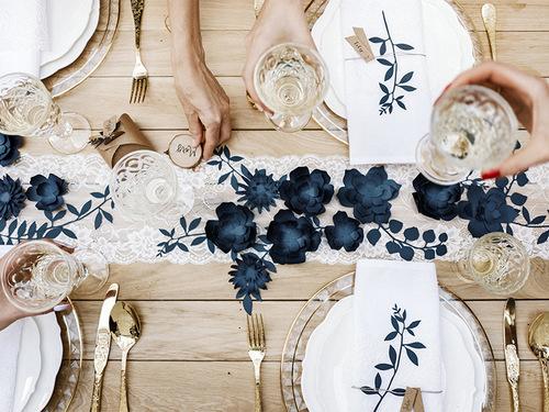 DIY decoratiebloem navy blue small (3ST)