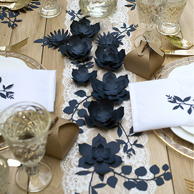 DIY decoratiebloem navy blue small (3ST)