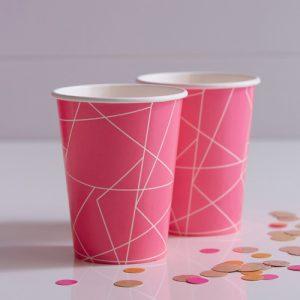 Papieren bekertjes 'Neon Pink'