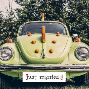 Nummerbord 'Just Married' wit