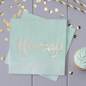 Mint & Gold servetten 'Hooray'