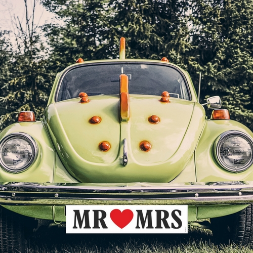 Nummerbord 'Mr & Mrs wit