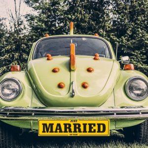 Nummerbord 'Just Married' geel