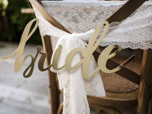 Chairsigns 'Bride & Groom' goud