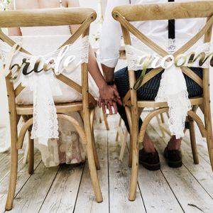 Chairsigns 'Bride & Groom' goud