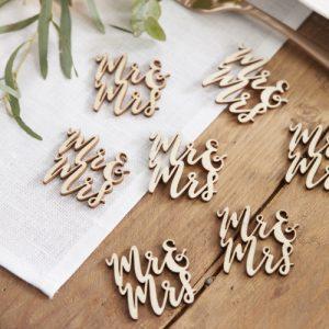 Houten confetti 'Mr & Mrs'