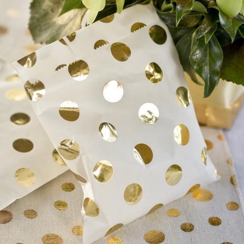 Snoepzakjes 'Metallic dots' goud