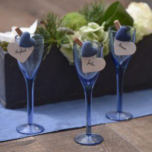 Houten knijpers 'Cotton Heart' blauw (6ST)
