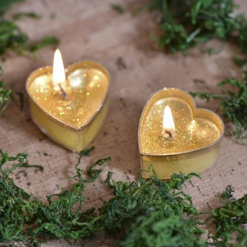 Kaarsje 'Hart' goud