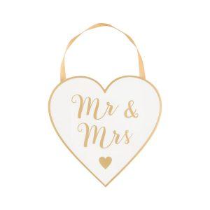 Houten-bordje-Mr-Mrs-goud