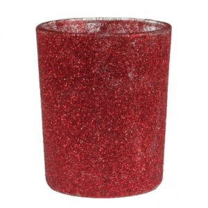 Waxinelichthouder glitter 'Rood'