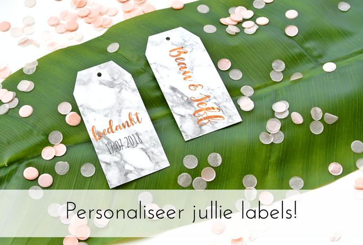 Personaliseer de labels voor jullie trouwbedankjes!