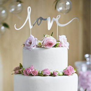 Cake Topper 'Love' zilver