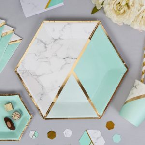 Papieren bordjes 'Colour block Marble' Mint large (8ST)