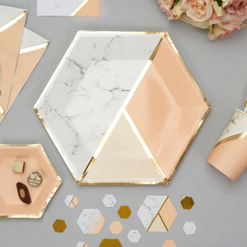 Papieren bordjes 'Colour block Marble' Peach large (8ST)