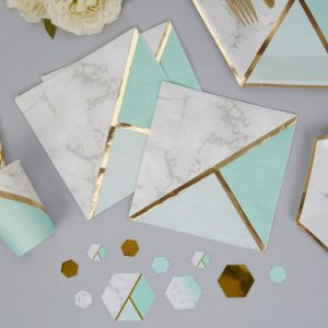 Servetten 'Colour block Marble' Mint