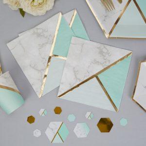 Servetten 'Colour block Marble' Mint
