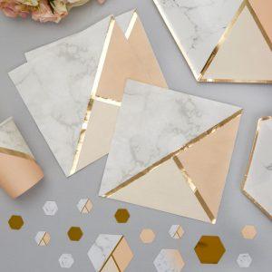 Servetten 'Colour block Marble' Peach