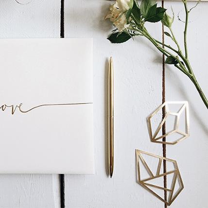 Gouden pen met standaard
