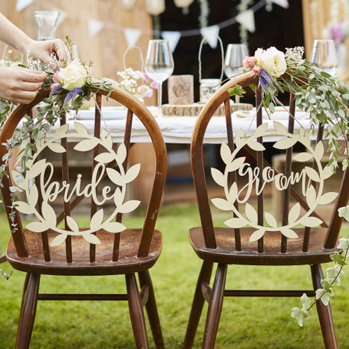 Bride-Groom-bordjes-hout-Rustic-Country