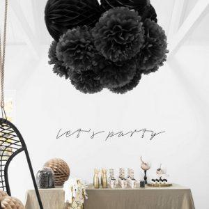 bruiloft-decoratie-pompoms-zwart