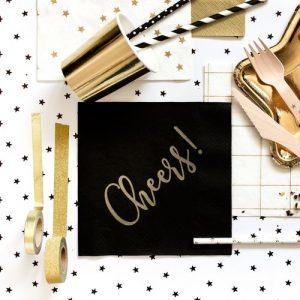 bruiloft-decoratie-servetten-cheers-black-gold