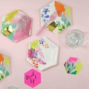 papieren-bordjes-fluorescent-floral